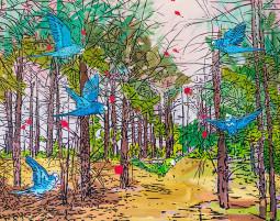 Jolantos Kyzikaitės parodoje – šuniui išdygs sparnai, o miškuose skraidys papūgos