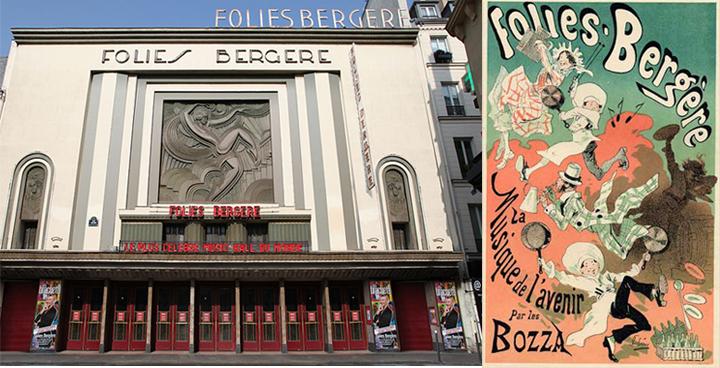 Foiles-Bergère pastatas šiandien ir istorinis pasirodymo plakatas