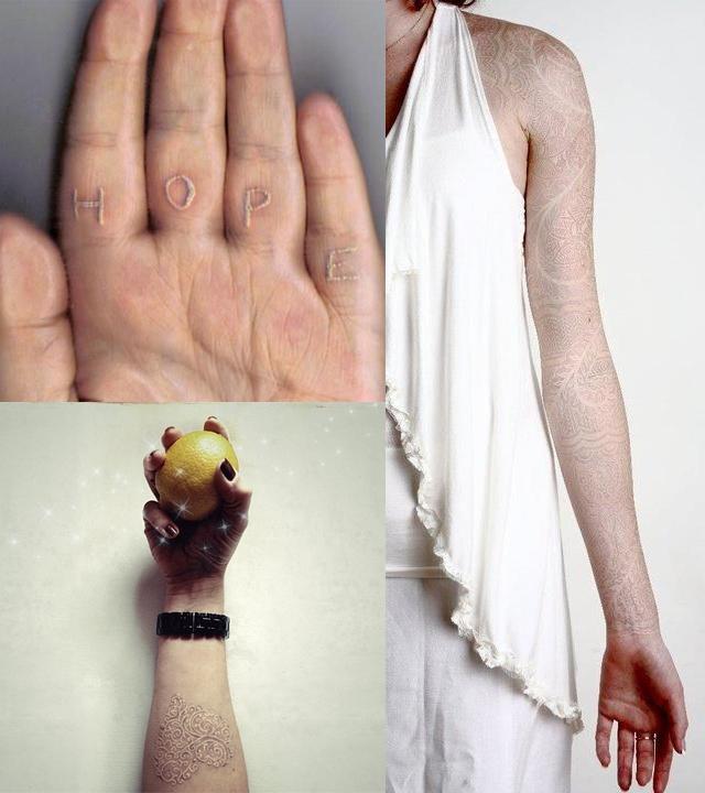 Balta spalva, tatuiruotės