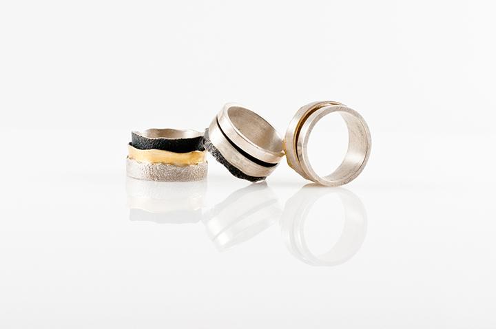 Žiedai, sidabras, oksiduotas, auksuotas sidabras