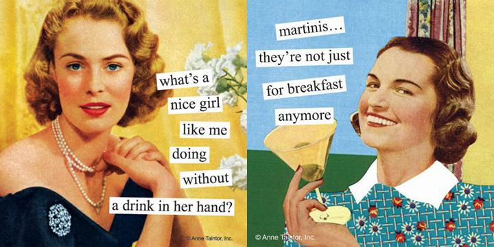 Ann Taintor vienkartinės servetėlės kokteilių tematika.