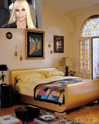 Donatella Versace ir jos miegamasis