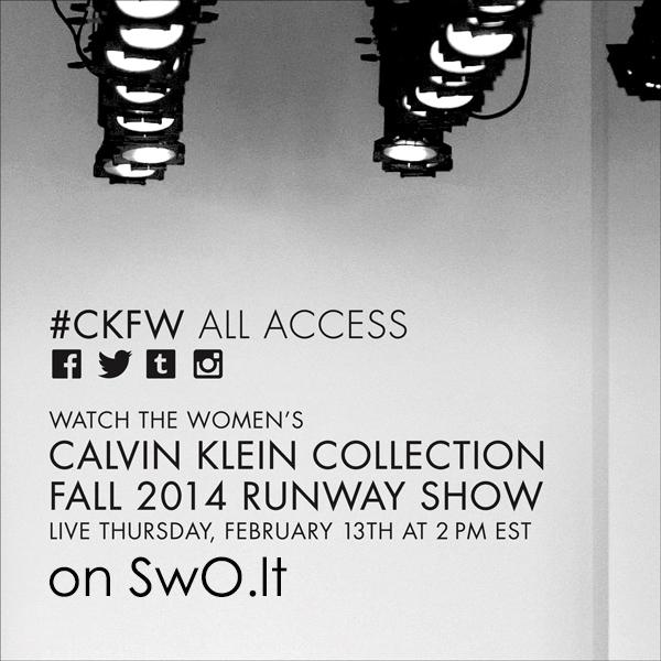 Tiesioginė Calvin Klein Collection FW 14/15 kolekcijos transliacija