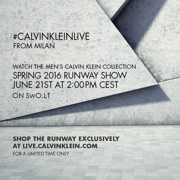 2016 m. pavasaris/vasara vyrams: Calvin Klein tiesioginė transliacija