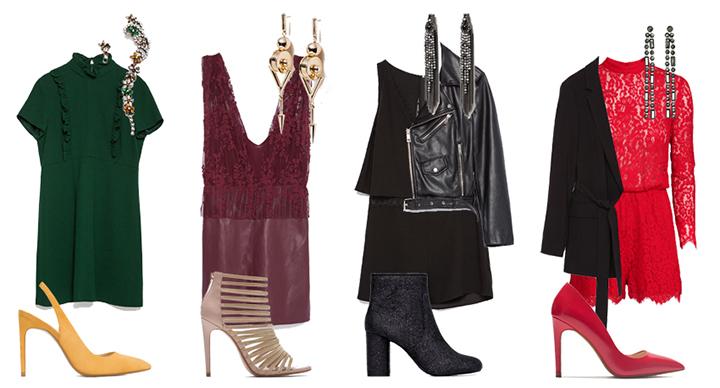 Raudonas kombinezonas ir auskarai su kristalais – H&M, kita – Zara. Gamintojų nuotr.