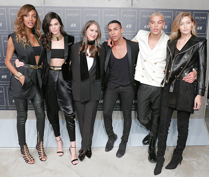 Balmain x H&M kolekcija. Jourdan Dunn, Kendall Jenner, Ann-Sofie Johansson, Olivier Rousteing, Dudley O'Shaughnessy, Gigi Hadid