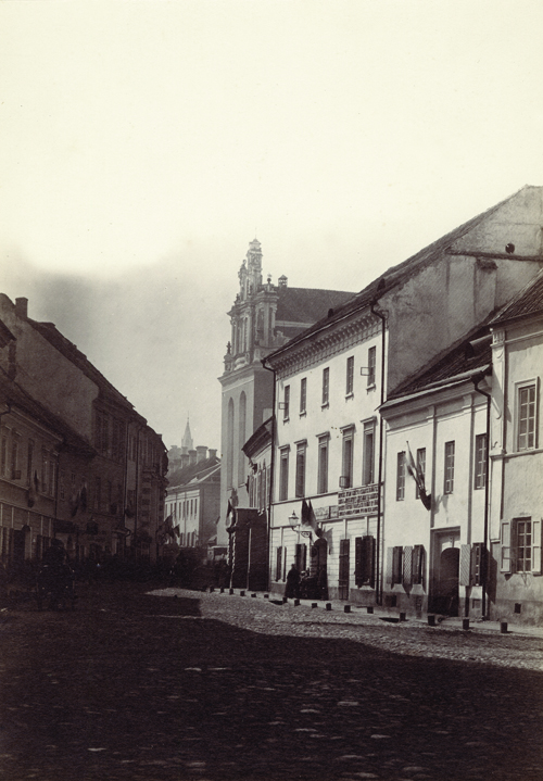 J. Čechavičius (1818-1888). Pilies gatvė prie Šv. Jonų bažnyčios. XIX a. 7-8 deš. Lietuvos valstybės istorijos archyvas